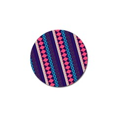 Purple And Pink Retro Geometric Pattern Golf Ball Marker by DanaeStudio