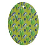 Tropical Floral Pattern Oval Ornament (Two Sides)
