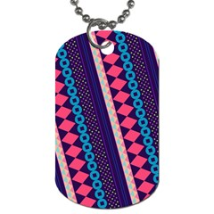 Purple And Pink Retro Geometric Pattern Dog Tag (two Sides) by DanaeStudio