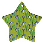 Tropical Floral Pattern Star Ornament (Two Sides)  Back