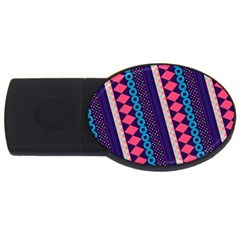 Purple And Pink Retro Geometric Pattern Usb Flash Drive Oval (2 Gb)