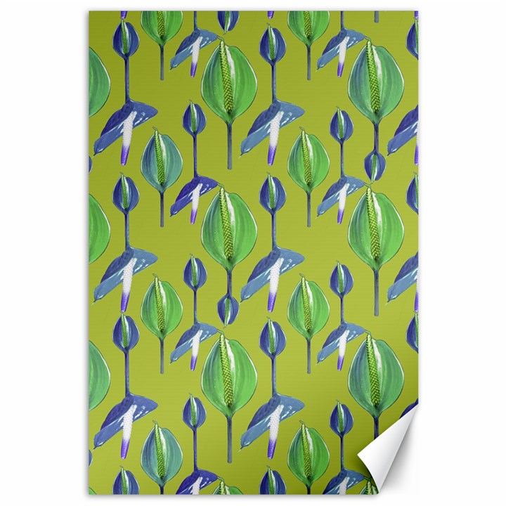 Tropical Floral Pattern Canvas 12  x 18