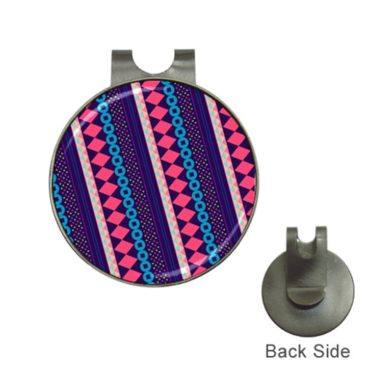 Purple And Pink Retro Geometric Pattern Hat Clips with Golf Markers