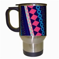 Purple And Pink Retro Geometric Pattern Travel Mugs (White)