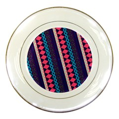 Purple And Pink Retro Geometric Pattern Porcelain Plates