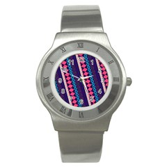 Purple And Pink Retro Geometric Pattern Stainless Steel Watch