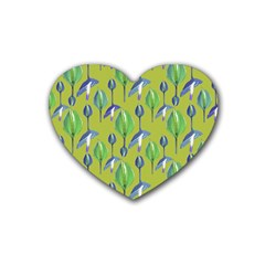 Tropical Floral Pattern Heart Coaster (4 pack)