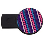 Purple And Pink Retro Geometric Pattern USB Flash Drive Round (4 GB)  Front