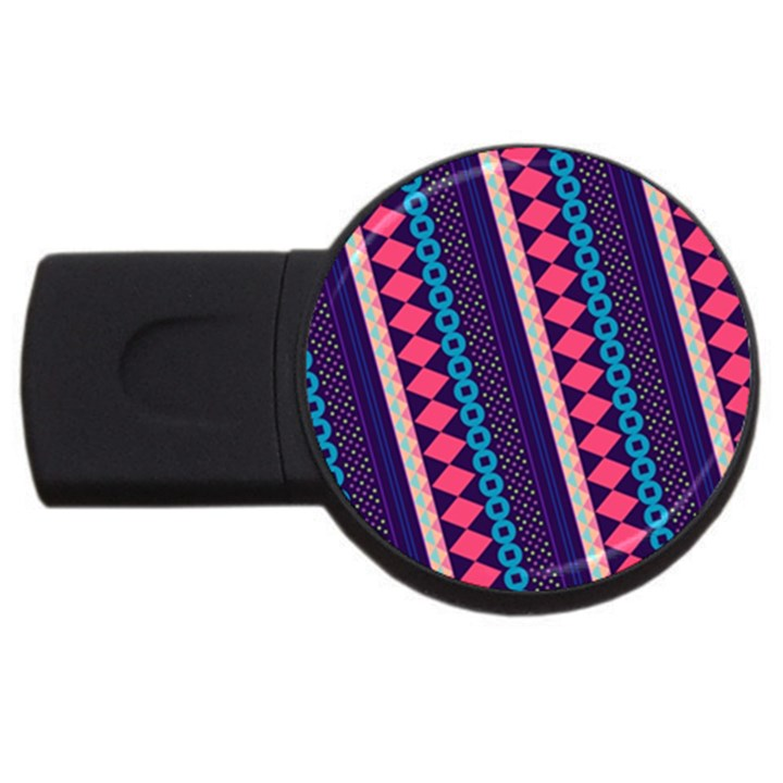 Purple And Pink Retro Geometric Pattern USB Flash Drive Round (4 GB)