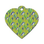 Tropical Floral Pattern Dog Tag Heart (Two Sides) Back