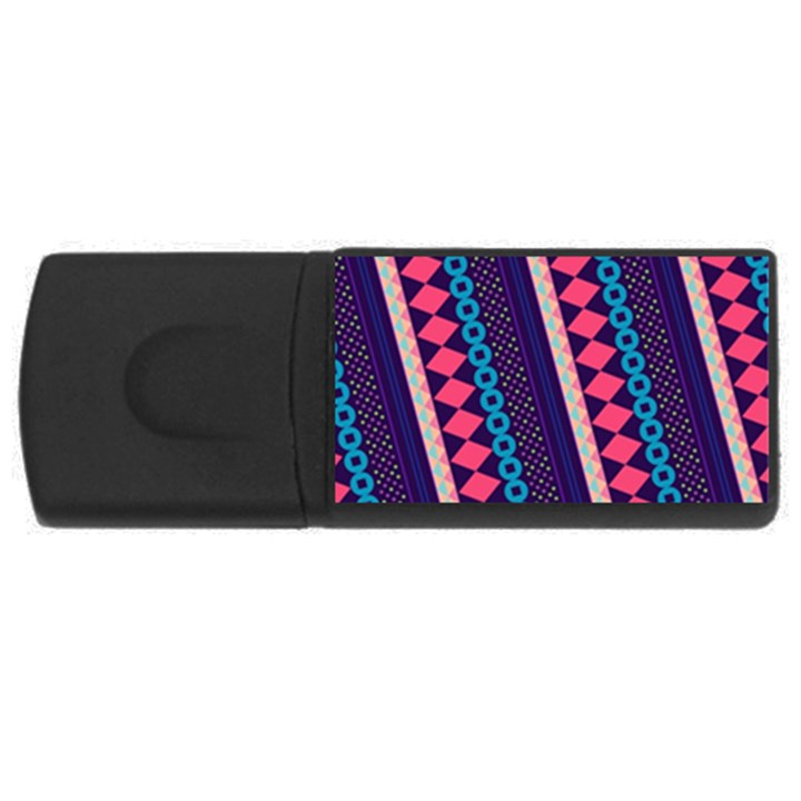 Purple And Pink Retro Geometric Pattern USB Flash Drive Rectangular (4 GB)