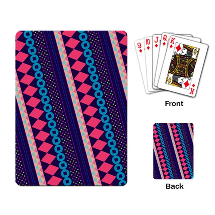 Purple And Pink Retro Geometric Pattern Playing Card
