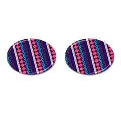 Purple And Pink Retro Geometric Pattern Cufflinks (oval) by DanaeStudio
