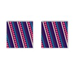 Purple And Pink Retro Geometric Pattern Cufflinks (Square) Front