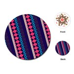 Purple And Pink Retro Geometric Pattern Playing Cards (Round)  Front