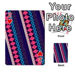 Purple And Pink Retro Geometric Pattern Playing Cards 54 Designs  Front - Heart2