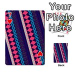 Purple And Pink Retro Geometric Pattern Playing Cards 54 Designs  Front - Heart7