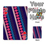 Purple And Pink Retro Geometric Pattern Playing Cards 54 Designs  Front - Heart10
