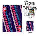 Purple And Pink Retro Geometric Pattern Playing Cards 54 Designs  Front - HeartA