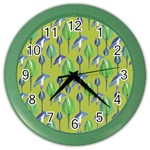 Tropical Floral Pattern Color Wall Clocks