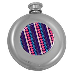 Purple And Pink Retro Geometric Pattern Round Hip Flask (5 Oz) by DanaeStudio
