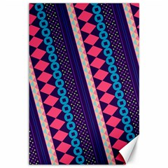 Purple And Pink Retro Geometric Pattern Canvas 12  X 18   by DanaeStudio
