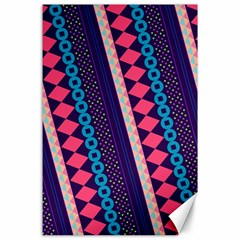 Purple And Pink Retro Geometric Pattern Canvas 24  X 36  by DanaeStudio