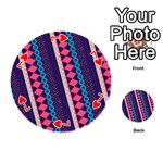Purple And Pink Retro Geometric Pattern Playing Cards 54 (Round)  Front - Heart7