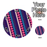 Purple And Pink Retro Geometric Pattern Playing Cards 54 (Round)  Front - Club6