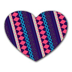 Purple And Pink Retro Geometric Pattern Heart Mousepads by DanaeStudio