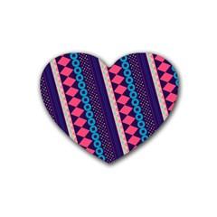 Purple And Pink Retro Geometric Pattern Rubber Coaster (heart)  by DanaeStudio