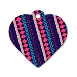 Purple And Pink Retro Geometric Pattern Dog Tag Heart (Two Sides) Front