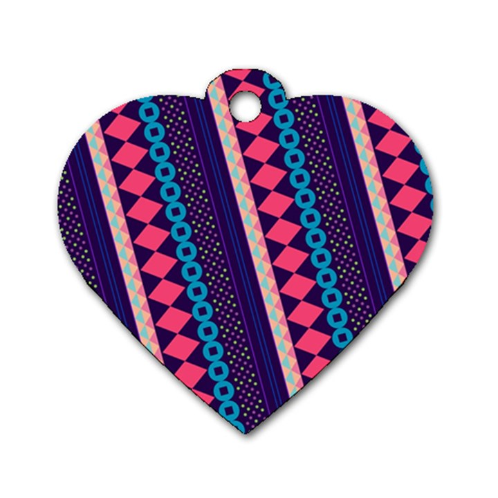 Purple And Pink Retro Geometric Pattern Dog Tag Heart (Two Sides)