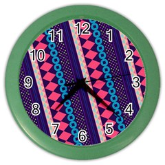 Purple And Pink Retro Geometric Pattern Color Wall Clocks by DanaeStudio