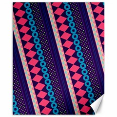 Purple And Pink Retro Geometric Pattern Canvas 11  X 14   by DanaeStudio