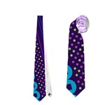 Purple And Pink Retro Geometric Pattern Neckties (One Side)  Front