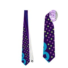 Purple And Pink Retro Geometric Pattern Neckties (two Side)  by DanaeStudio