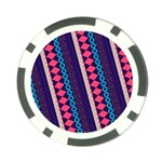 Purple And Pink Retro Geometric Pattern Poker Chip Card Guards Back