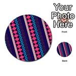 Purple And Pink Retro Geometric Pattern Multi-purpose Cards (Round)  Back 2