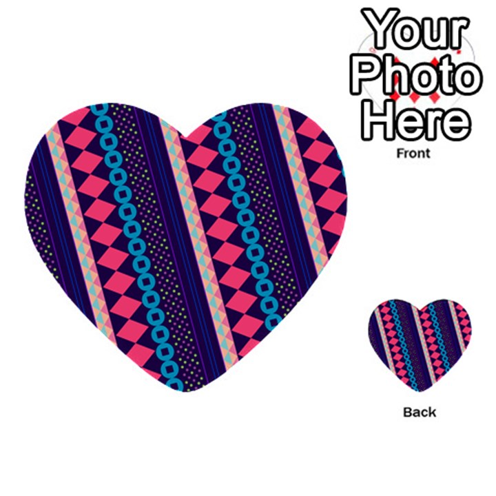 Purple And Pink Retro Geometric Pattern Multi-purpose Cards (Heart)