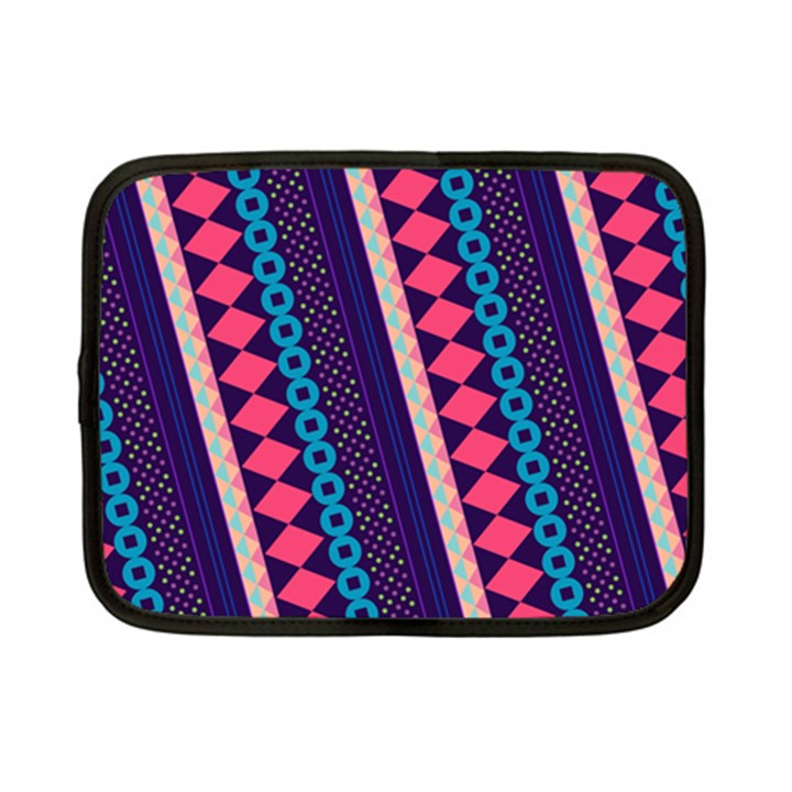 Purple And Pink Retro Geometric Pattern Netbook Case (Small)