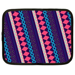 Purple And Pink Retro Geometric Pattern Netbook Case (large) by DanaeStudio