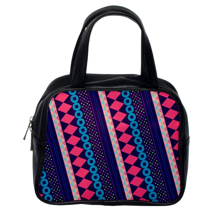 Purple And Pink Retro Geometric Pattern Classic Handbags (One Side)
