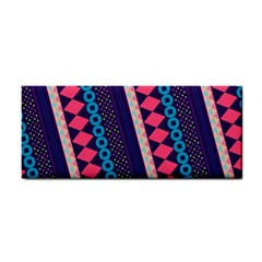Purple And Pink Retro Geometric Pattern Hand Towel by DanaeStudio