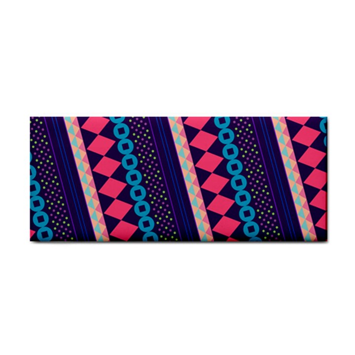 Purple And Pink Retro Geometric Pattern Hand Towel