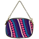 Purple And Pink Retro Geometric Pattern Chain Purses (Two Sides)  Front