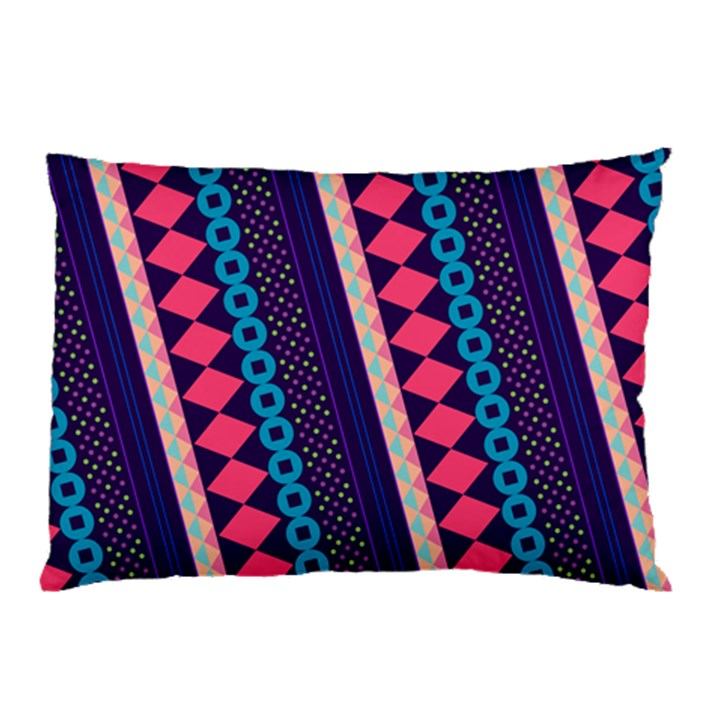 Purple And Pink Retro Geometric Pattern Pillow Case