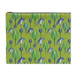 Tropical Floral Pattern Cosmetic Bag (XL)