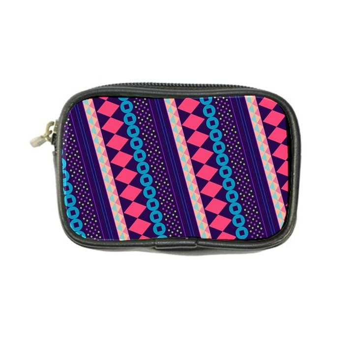 Purple And Pink Retro Geometric Pattern Coin Purse