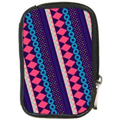 Purple And Pink Retro Geometric Pattern Compact Camera Cases by DanaeStudio